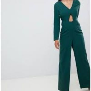 Asos Triange Waist Cut Out Wide Leg Jumpsuit